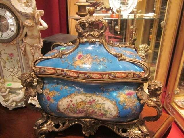 44: LARGE ORNATE PORCELAIN AND BRONZE CENTERPIECE WITH