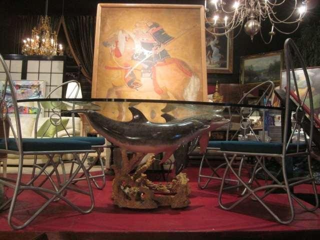 96: SPECTACULAR WYLAND BRONZE SCULPTURE DOLPHIN DINING