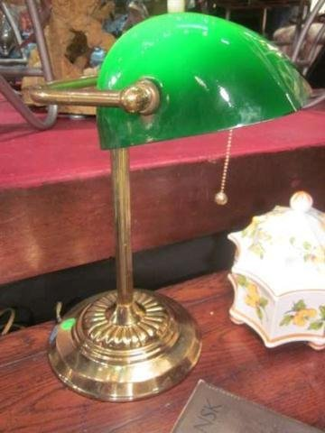 """6: BRASS """"BANKER'S"""" DESK LAMP WITH GREEN GLASS SHADE, A"""