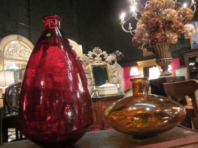 """9: HUGE RED GLASS VASE, APPROX 24"""" HIGH"""
