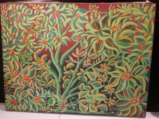 13: PAINTING ON CANVAS, INTRICATE FLORAL DESIGN, SIGNED