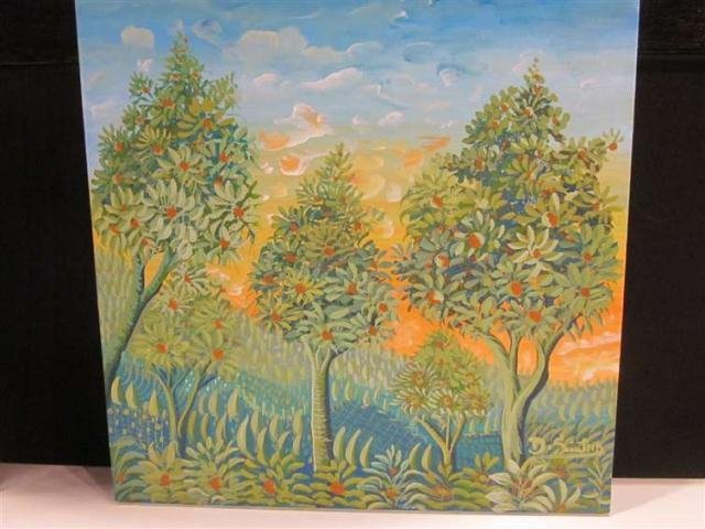 14: PAINTING ON CANVAS, LANDSCAPE WITH THREE TREES, SIG