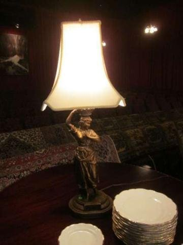 """18: FIGURAL TABLE LAMP, YOUNG MAIDEN, APPROX 20""""H"""