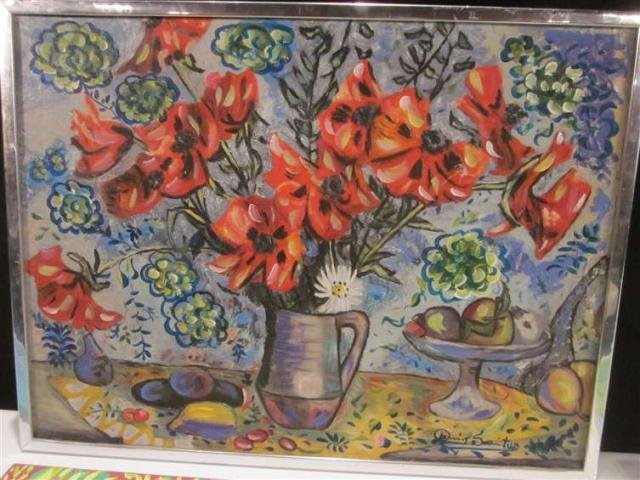 23: PAINTING ON CANVAS, FLORAL STILL LIFE, SIGNED LOWER