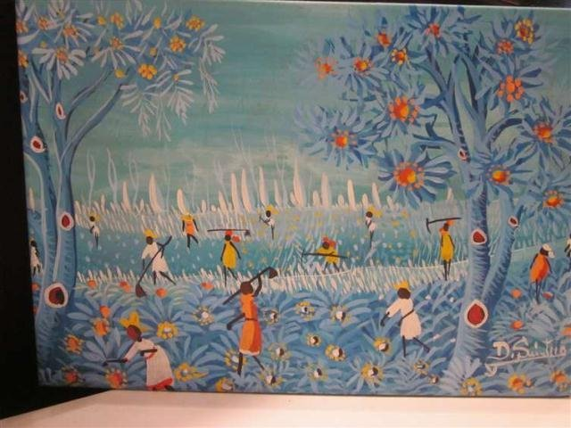 24: PAINTING ON CANVAS, LANDSCAPE IN SHADES OF BLUE, SI