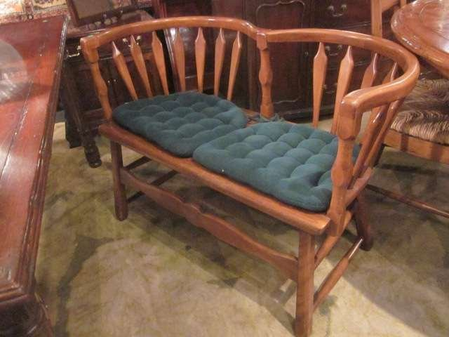 4: VINTAGE LIGHT WOOD SETTEE WITH TWIN CURVED BACKS, AP