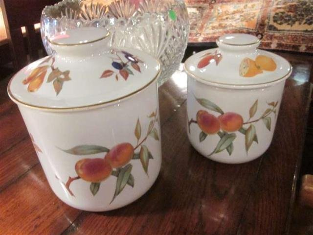 10: PAIR OF ROYAL WORCESTER EVESHAM COVERED CANISTERS