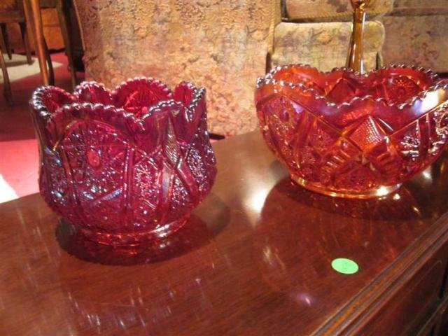 17: TWO LARGE RED IRIDESCENT DEPRESSION GLASS BOWLS, AP