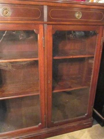 21: #1 OF TWO AVAILABLE VINTAGE MAHOGANY BOOKCASES, LOC