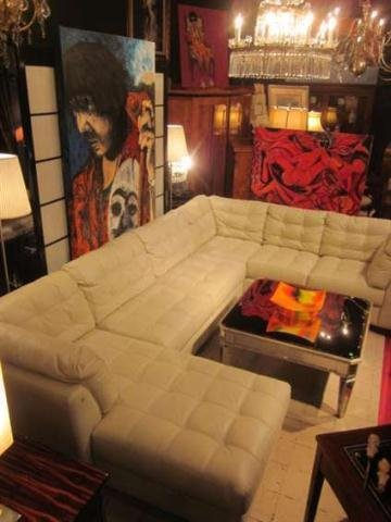 112: WHITE ITALIAN LEATHER 3 PC SECTIONAL SOFA WITH TUF
