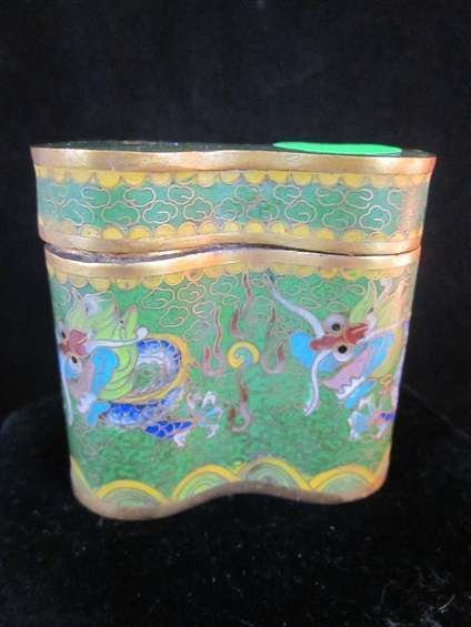 13: VINTAGE CHINESE CLOISONNE BOX WITH DRAGON DESIGN, A