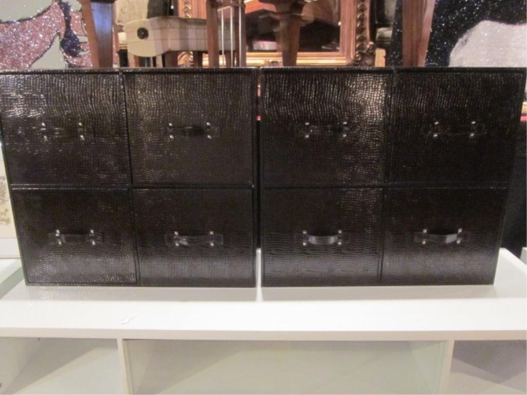 18: PAIR OF 4 DRAWER FAUX ALLIGATOR SKIN CHESTS, APPROX
