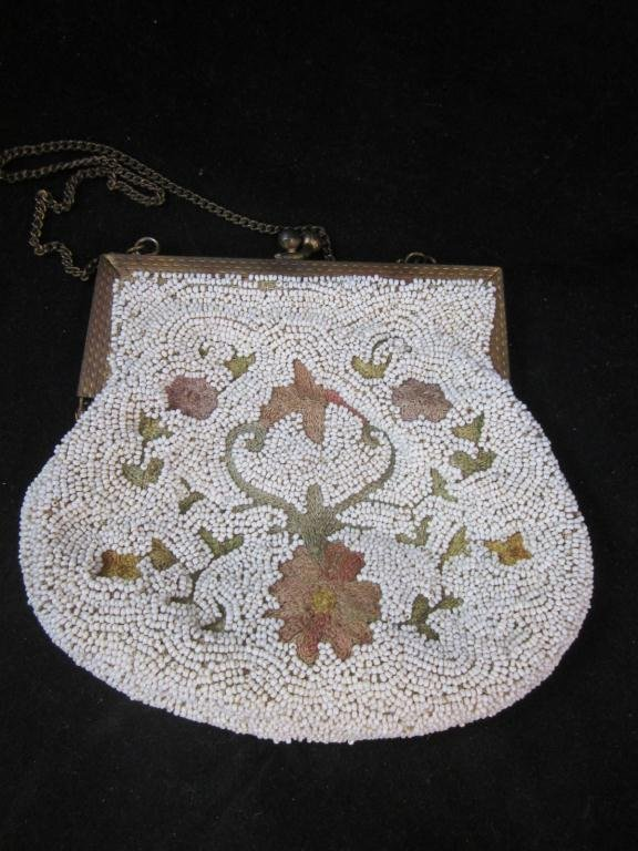 22: VINTAGE BEADED PURSE, WITH NEEDLE WORK INSETS, OVER