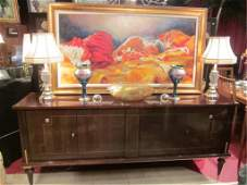 130: VINTAGE 1940's FRENCH ART DECO SIDEBOARD WITH EXOT