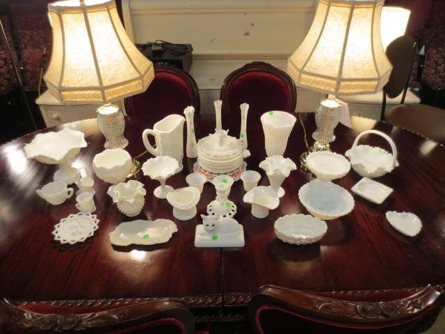 1: HUGE COLLECTION OF MILK GLASS, 40 ASSORTED PIECES