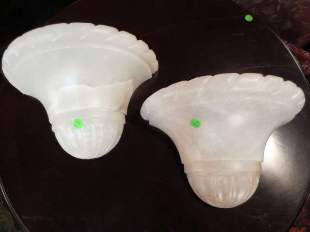 2: PAIR OF ALABASTER WALL SCONCE LIGHT SHADES, APPROX 1