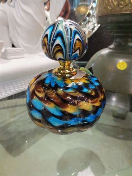 """5: MURANO STYLE ART GLASS PERFUME BOTTLE, APPROX 5"""" HIG"""