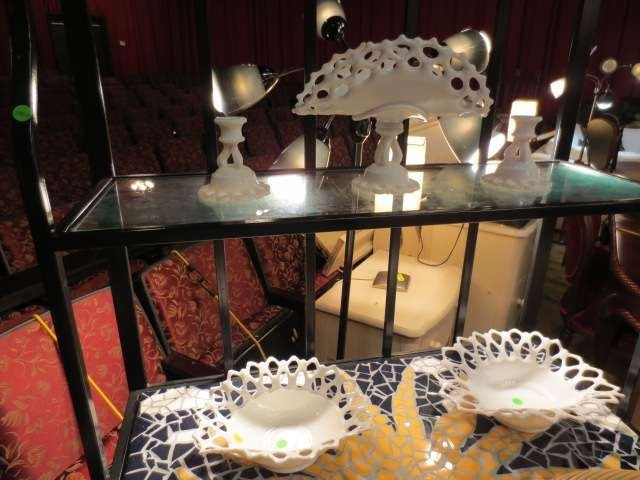 9: FIVE PIECE GROUP OF LACE EDGE MILK GLASS INCLUDES 3