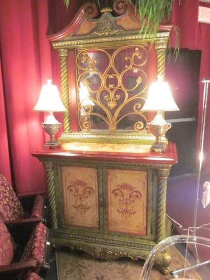 17: ORNATE 2 DOOR CABINET WITH LARGE MIRROR, GREEN AND