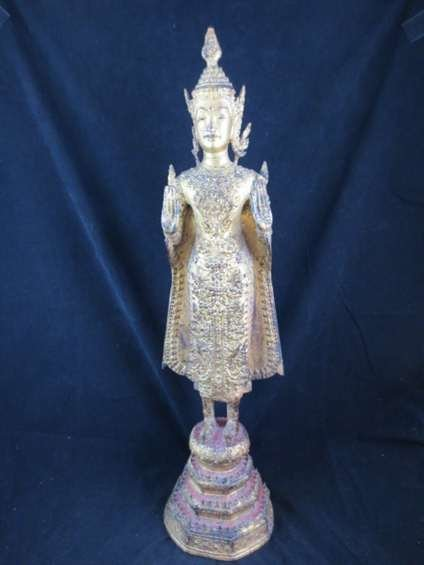94: ANTIQUE THAI BRONZE BUDDHA WITH GOLD LEAF, APPROX 2