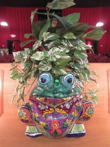 """1: LARGE PAINTED CERAMIC FROG PLANTER, APPROX 20""""H"""