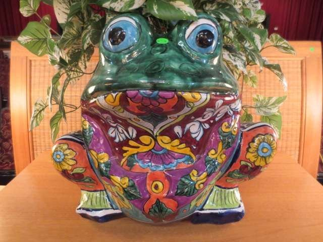 """1: LARGE PAINTED CERAMIC FROG PLANTER, APPROX 20""""H - 2"""