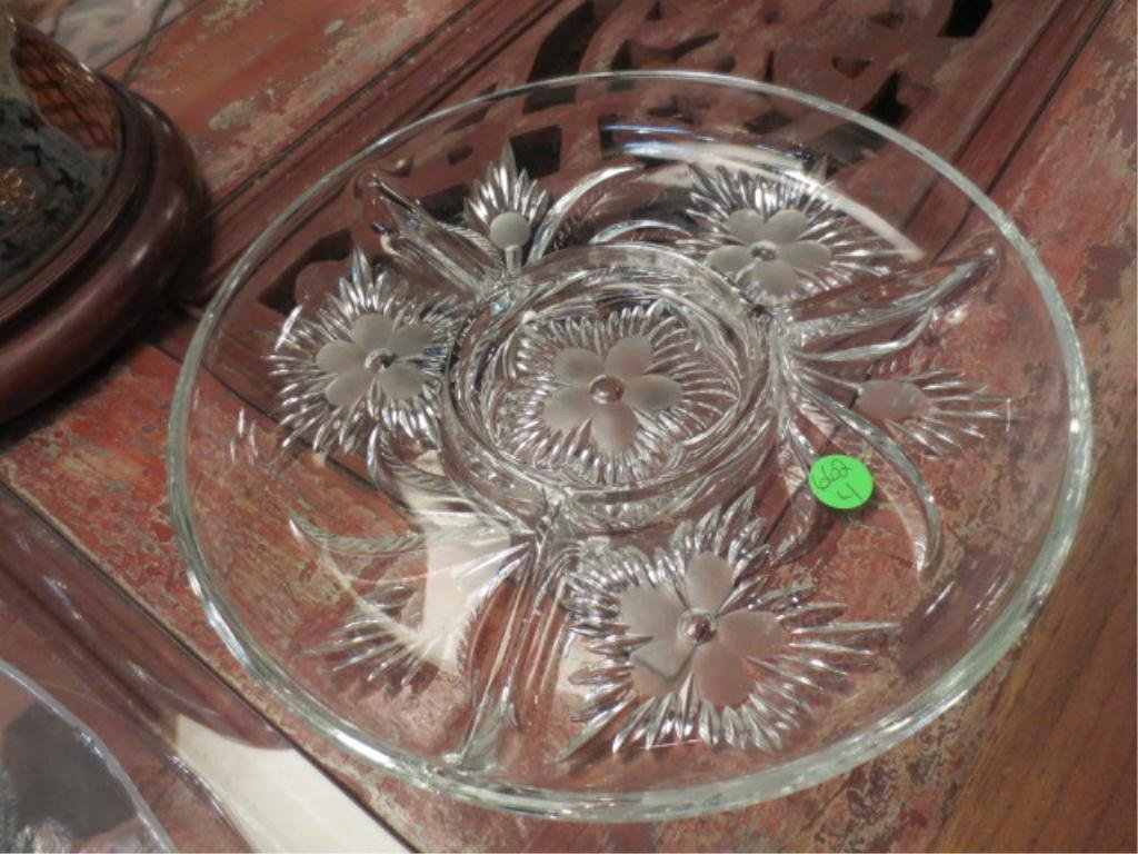 """4: DIVIDED CRYSTAL SERVING PLATTER, APPROX 11 1/4"""" DIAM"""