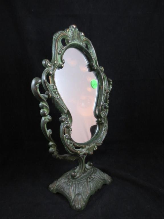 7: ORNATE MIRROR ON STAND, VERDIGRIS FINISH, APPROX 12
