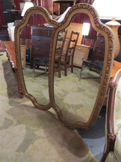 9: PAIR OVAL GOLD FINISH WOOD FRAME MIRRORS, APPROX 4'H