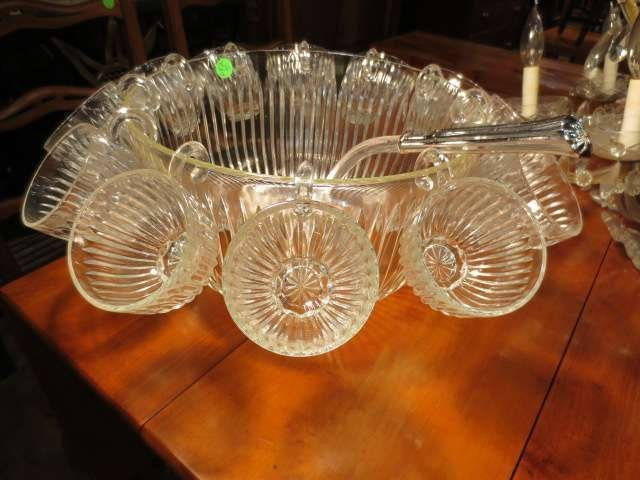 "3: CRYSTAL PUNCHBOWL, APPROX 11 1/4"" DIAMETER, WITH 12"