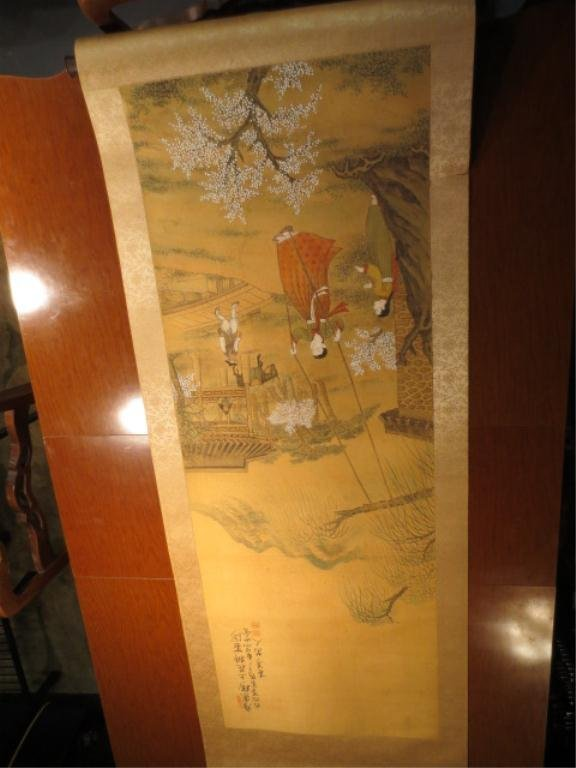 13: VINTAGE ORIENTAL PAINTING ON SILK SCROLL, WITH CALL