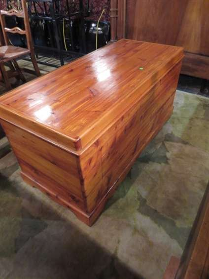 16: LARGE CEDAR CHEST WITH SLIDING STORAGE COMPARTMENT
