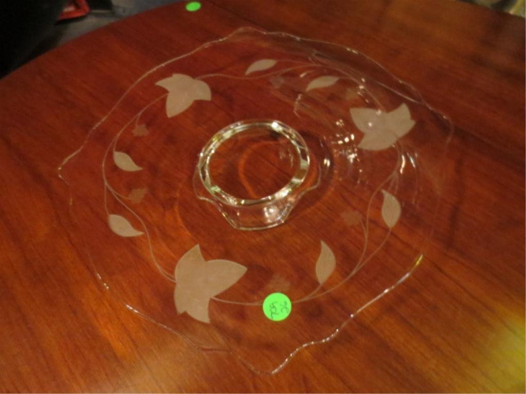 1: SQUARE CRYSTAL PLATTER WITH LEAF DESIGN, APPROX 13.5