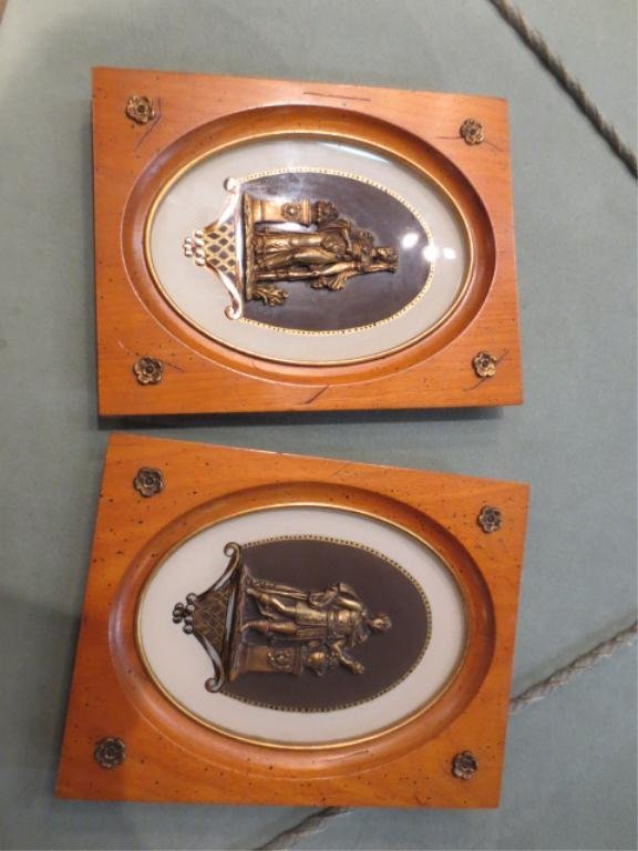 "6: PAIR OF FRAMED BRONZE PLAQUES, FRAMED APPROX 8.6"" X"