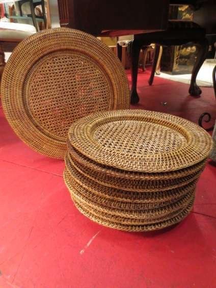 14: 10 PC RATTAN CHARGER SET, 8 PLATE SIZE, 2 PLATTER S