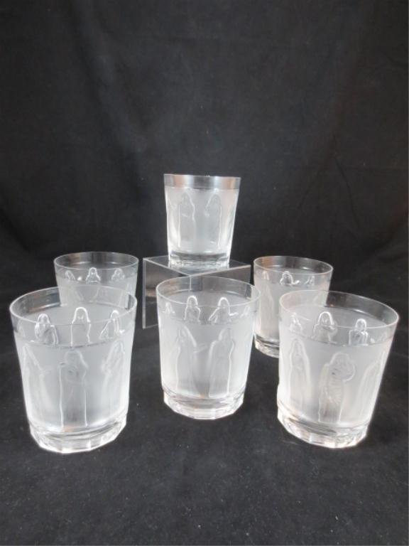 "61: SIX VINTAGE LALIQUE ""FEMMES"" WHISKEY GLASSES, APPRO"