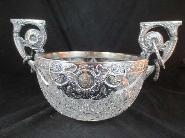 71: HUGE STERLING SILVER & CUT CRYSTAL BOWL, HALLMARKED