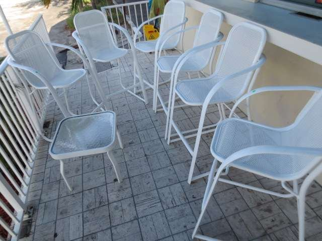 2: ENAMELED METAL PATIO SET, 6 BISTRO HEIGHT CHAIRS AND
