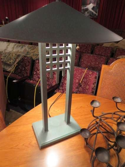 10: PAIR OF METAL ARTS AND CRAFTS STYLE TABLE LAMPS, VE