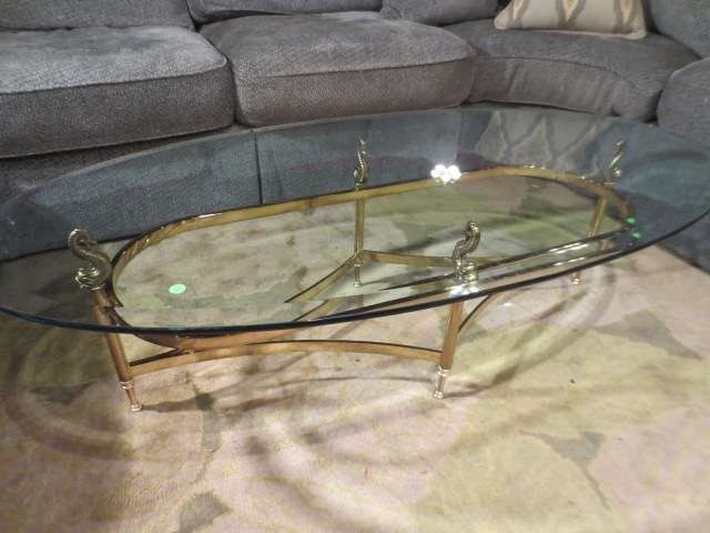 17: 2 PC POLISHED BRASS COFFEE AND END TABLE SET, OVAL