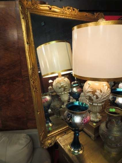 19: LARGE ORNATE GOLD FINISH WOOD MIRROR, APPROX 4'L
