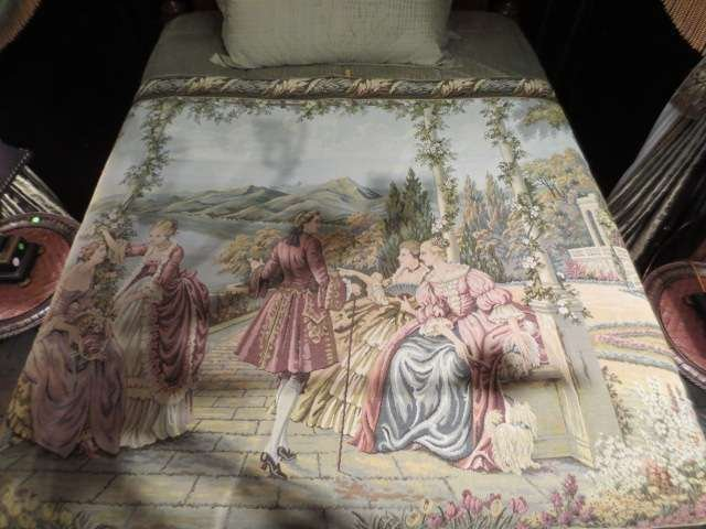 21: HUGE TAPESTRY, 18TH CENTURY SCENE WITH LADIES AND G