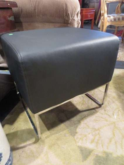 22: CONTEMPORARY BLACK OTTOMAN, LEATHERETTE UPHOLSTERY