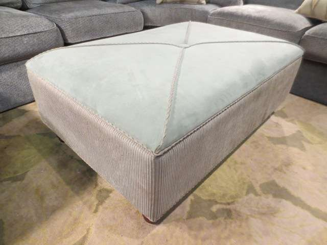 23: UPHOLSTERED STORAGE OTTOMAN WITH PADDED TOP, SAGE G