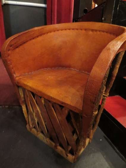 24: MEXICAN LEATHER AND RATTAN CHAIR, NATURAL FINISH