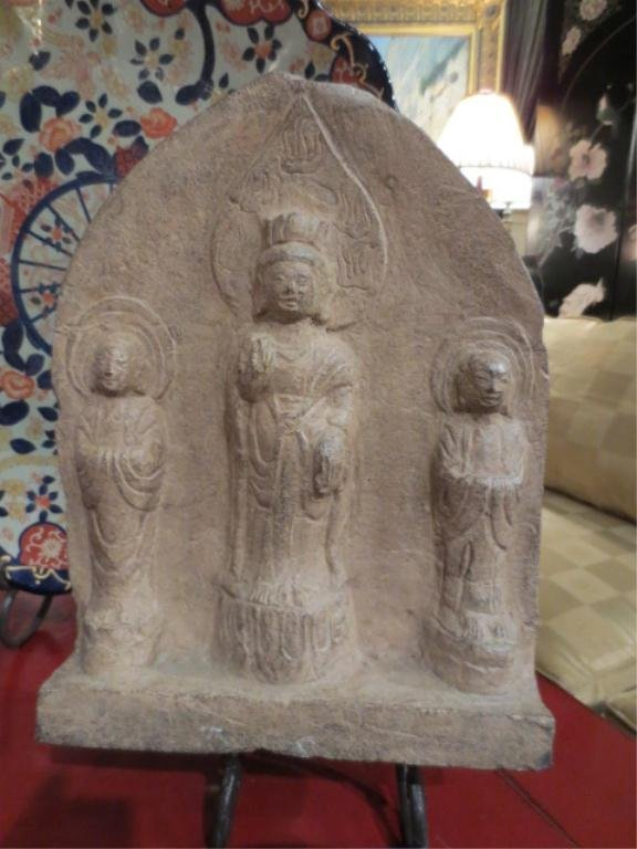 100: ANTIQUE CHINESE CARVED STONE BUDDHA PANEL, WEI DYN
