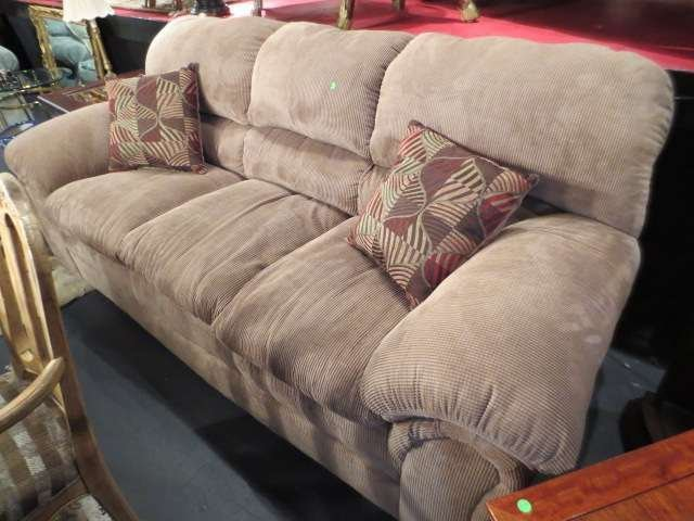 10: #1 OF 2 AVAILABLE CONTEMPORARY TAN SOFAS, ROLL ARMS