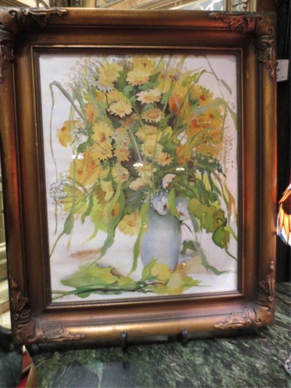 19: FLORAL WATERCOLOR ON CANVAS, SIGNED F. LOVE LOWER L