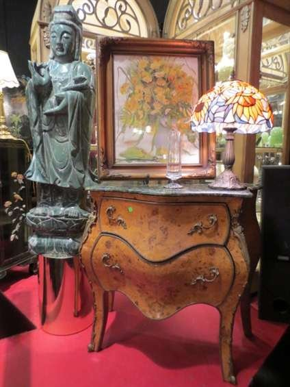 20: FRENCH LOUIS XV STYLE 2 DRAWER CHEST, GREEN MARBLE