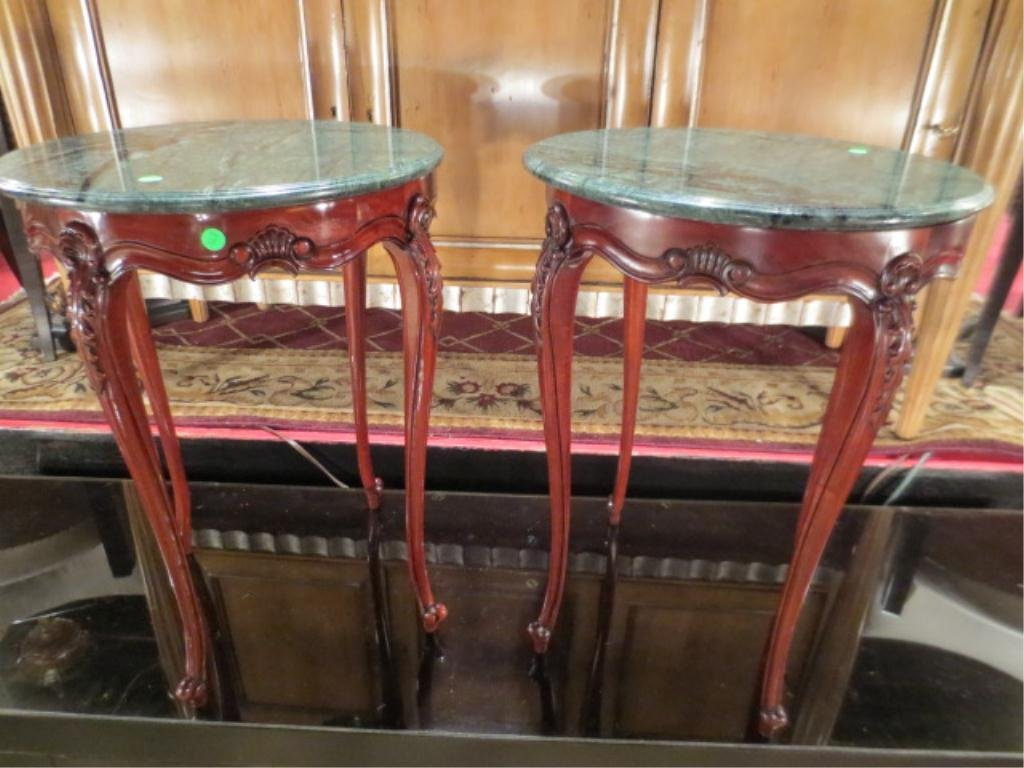 2: PAIR OF MARBLE TOP SIDE TABLES, MAHOGANY FINISH, APP